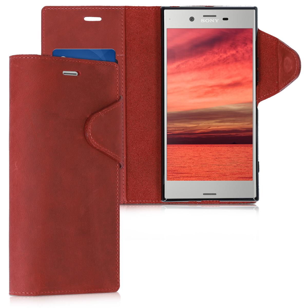 Kožené pouzdro | obal pro Sony Xperia XZ Premium - tmavě červená