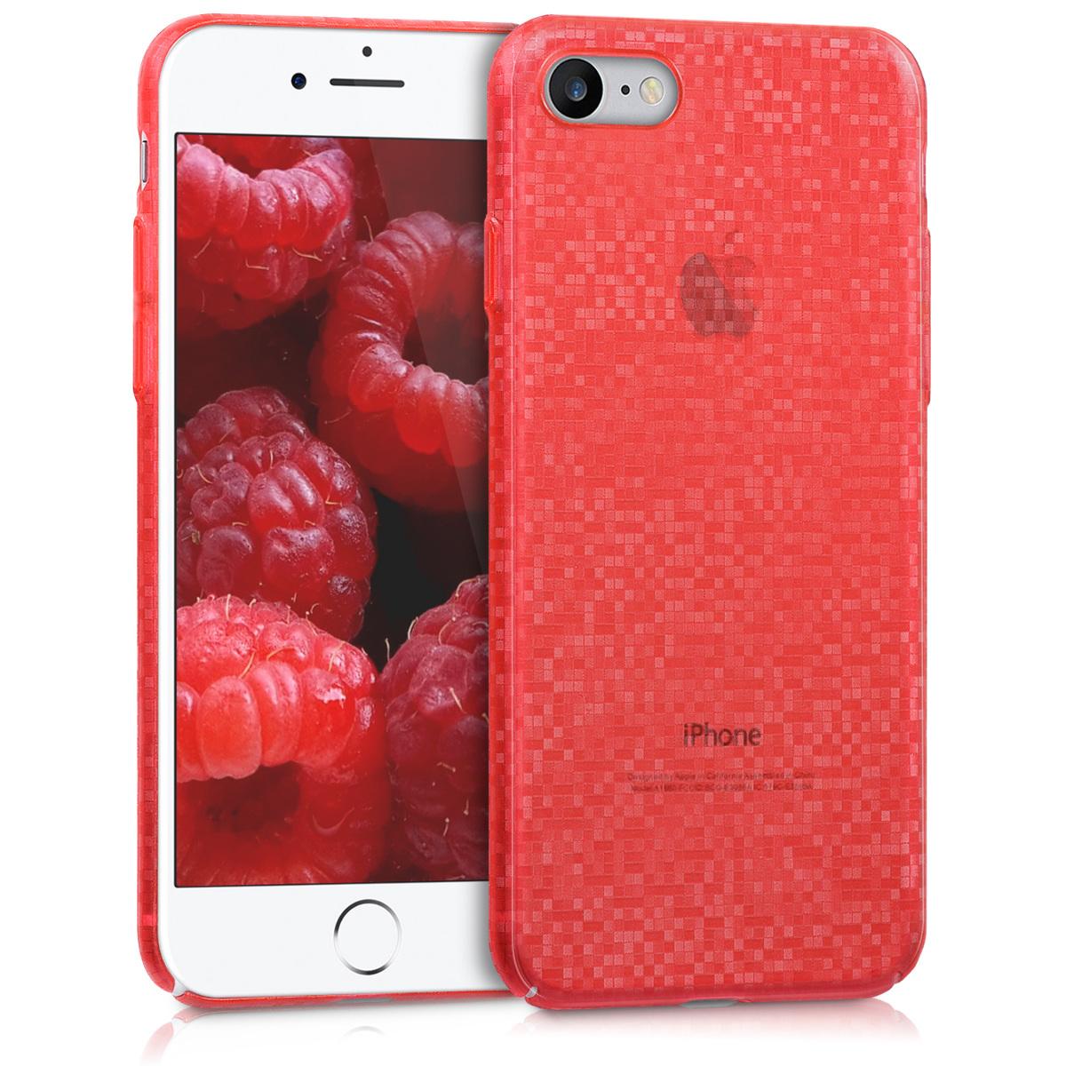 Kvalitní plastové pouzdro pro Apple iPhone 7 / 8 / SE  - Mosaic Glitter červená | Transparent