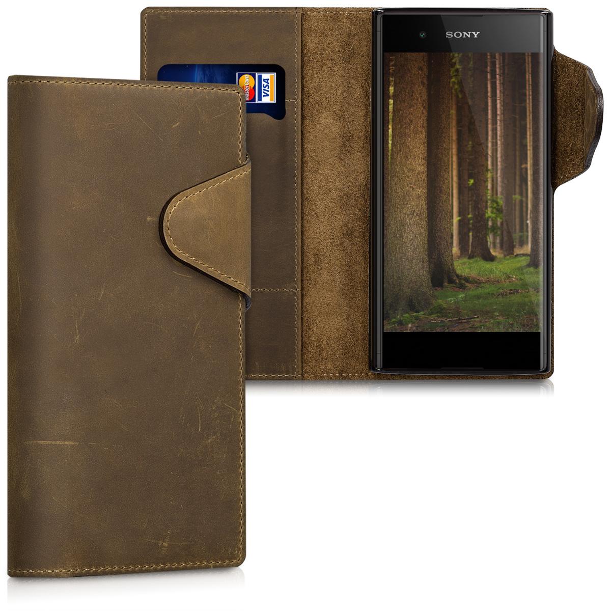 Kožené pouzdro | obal pro Sony Xperia XA1 Plus - hnědé