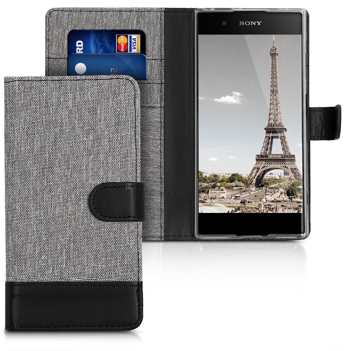 Textilní látkové pouzdro | obal pro Sony Xperia XA1 Plus - šedé/ černé