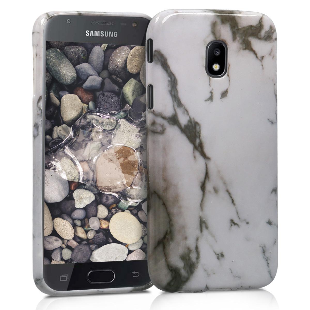 Kvalitní silikonové TPU pouzdro pro Samsung J5 (2017) DUOS - Marble bílé / černé