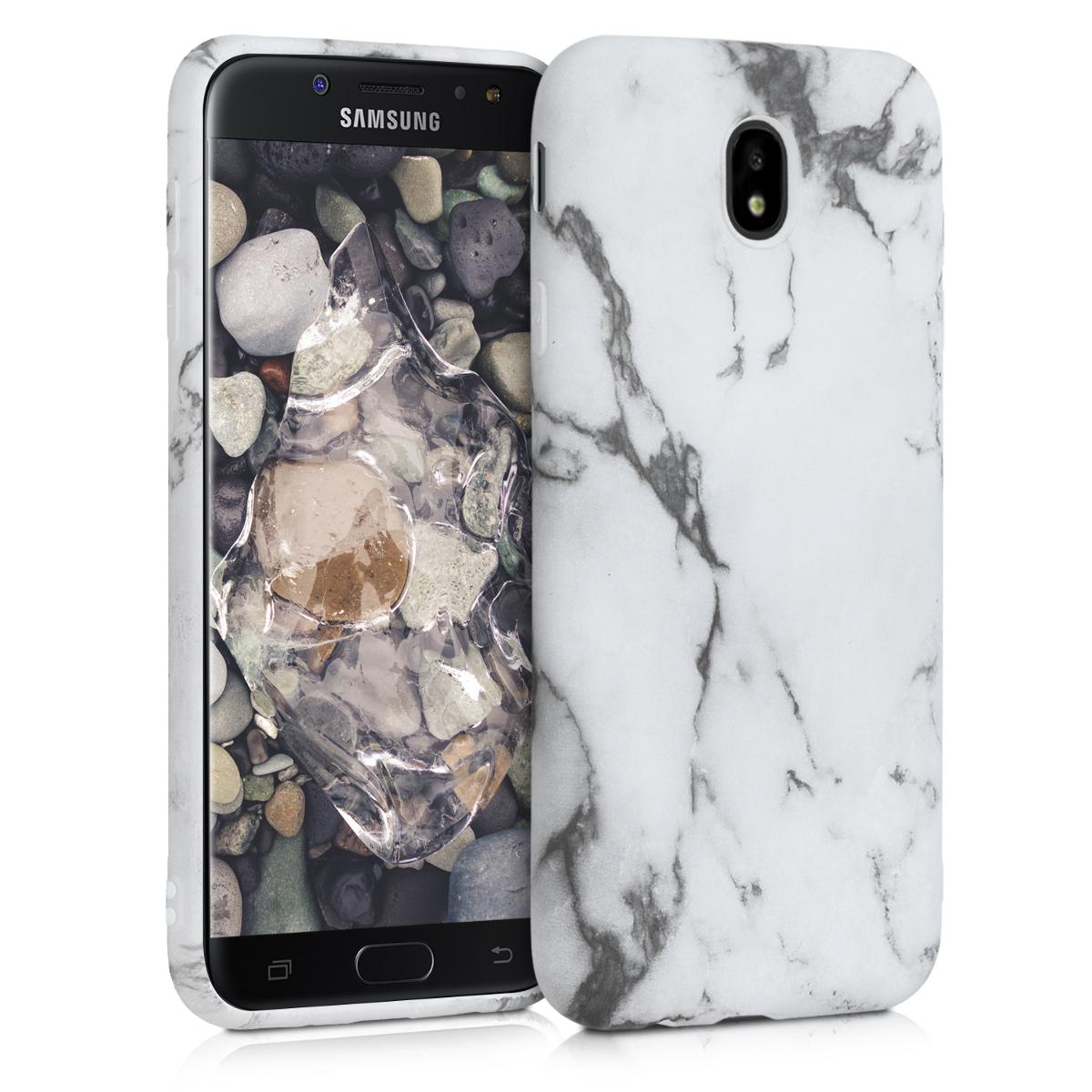 Kvalitní silikonové TPU pouzdro pro Samsung J7 (2017) DUOS - Marble bílé / černé