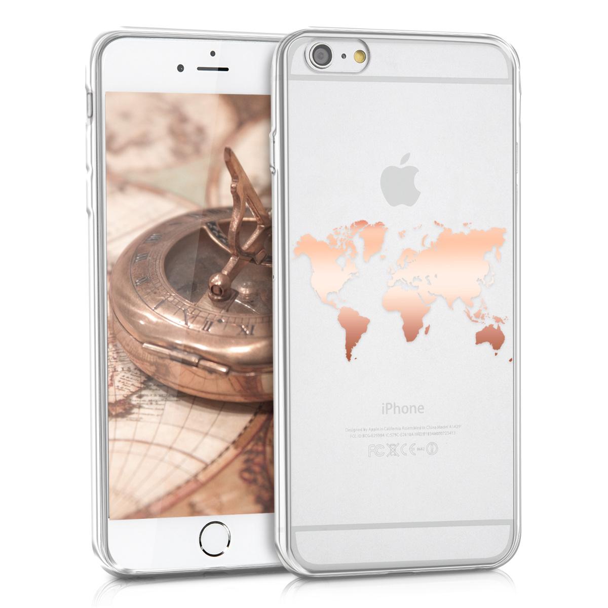 Kvalitní silikonové TPU pouzdro pro Apple iPhone 6 Plus / 6S - Travel Outline Rose Gold | Transparent