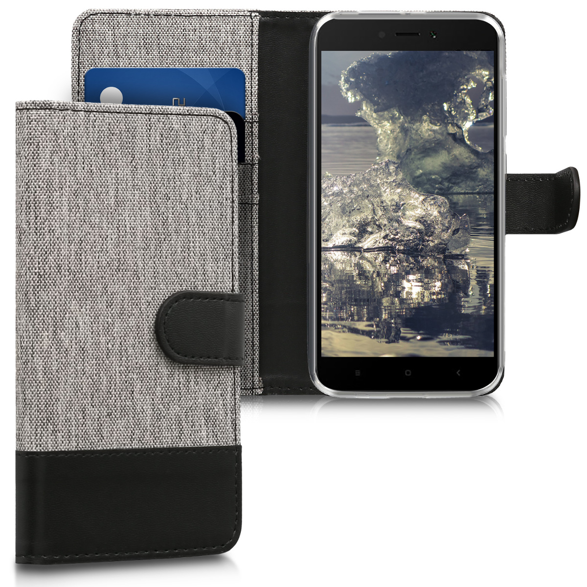 Textilní látkové pouzdro | obal pro Xiaomi Redmi 5A - Šedá / černý