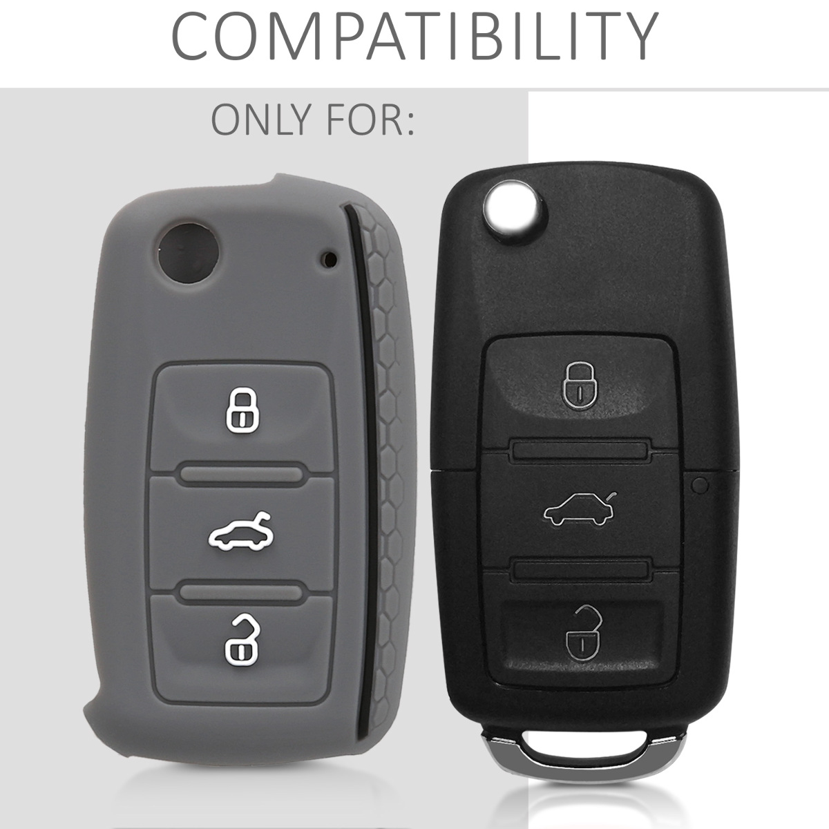 kwmobile Car Key Cover Compatible with Kia 3-4 Button Car Key Dont Touch My Key White//Black Silicone Protective Key Fob Cover