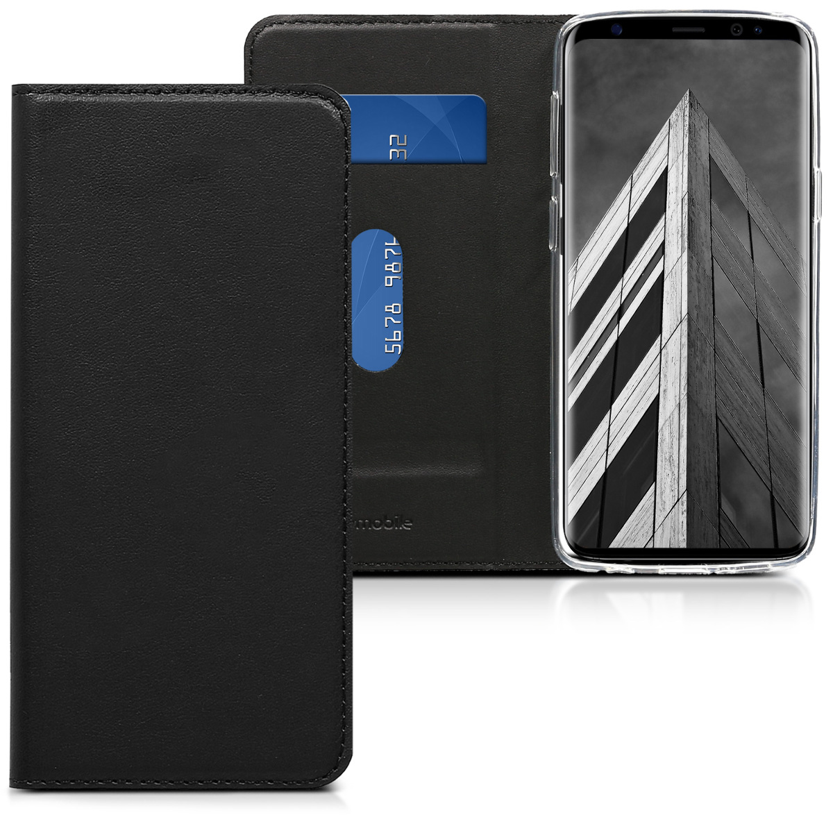 Pouzdro peněženka pro  Samsung Galaxy S9 - Smooth PU Leather Wallet Folio Cover with Stand - Black