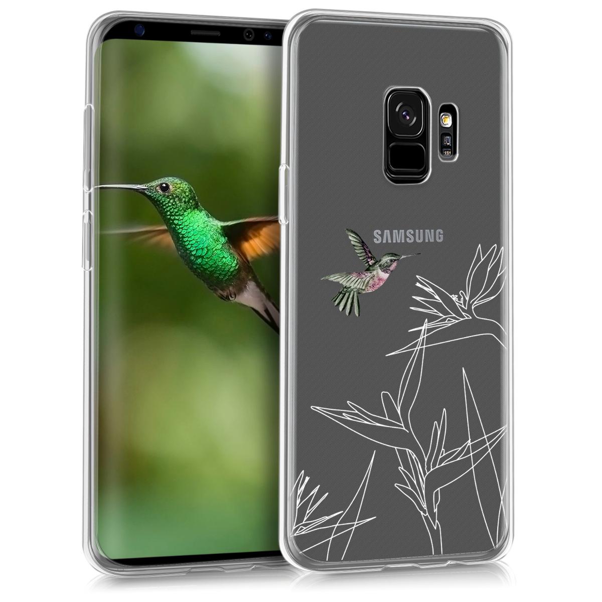 Transparentní pouzdro pro  Samsung Galaxy S9 - TPU Smartphone Backcover - Hummingbird and Flowers Dark Pink / White / Transparent