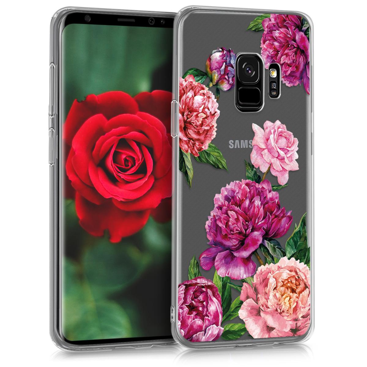 Kvalitní silikonové TPU pouzdro pro Samsung S9 - květiny Mix fialové / růžové / transparentní