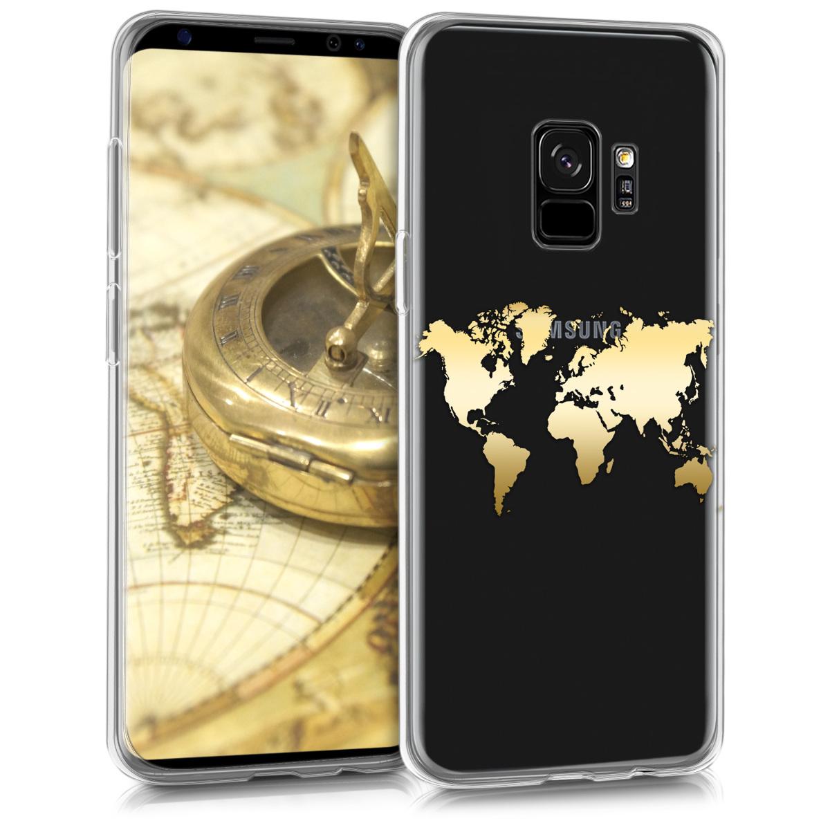 Kvalitní silikonové TPU pouzdro pro Samsung S9 - Travel Outline Gold / transparentní