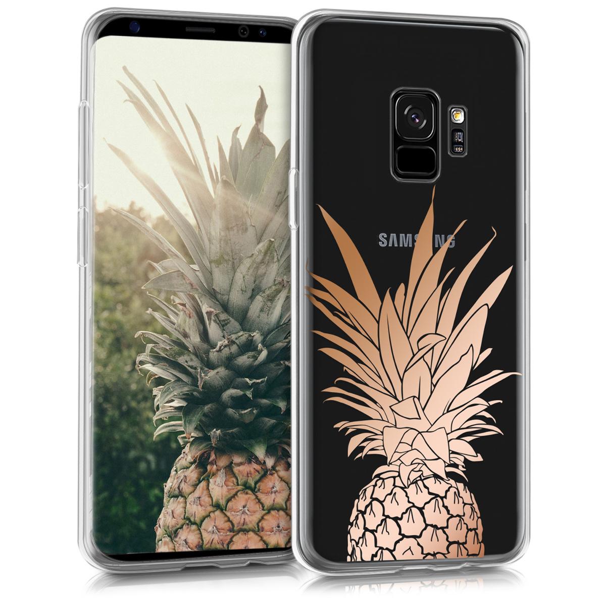 Kvalitní silikonové TPU pouzdro pro Samsung S9 - Ananas keř starorůžové rosegold / transparentní