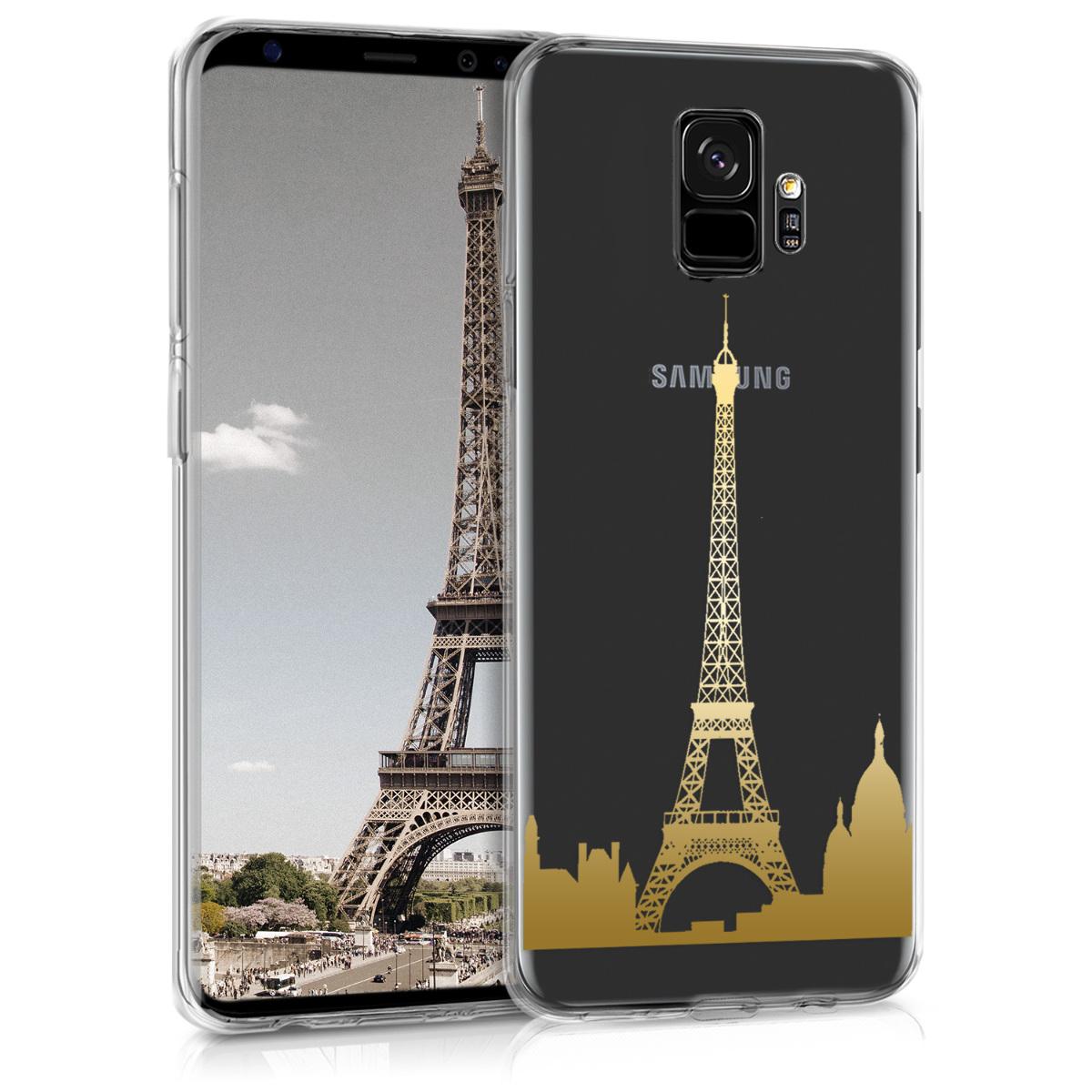 Kvalitní silikonové TPU pouzdro pro Samsung S9 - Eiffelova věž Přehled Gold / transparentní