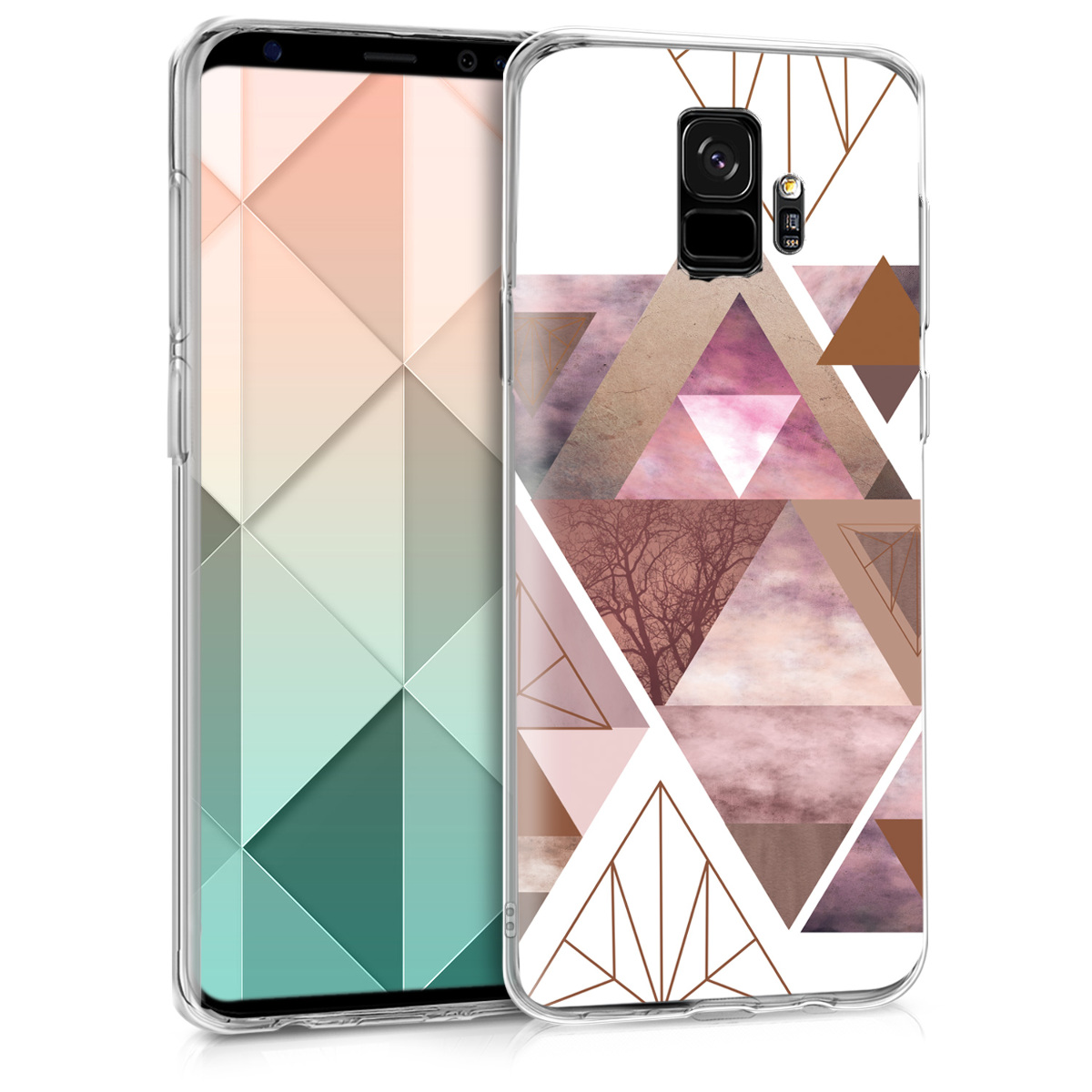 Pouzdro pro Samsung Galaxy S9 - TPU Crystal Clear Back Protective Cover IMD Design - Patchwork Triangles Light Pink / Rose Gold / White