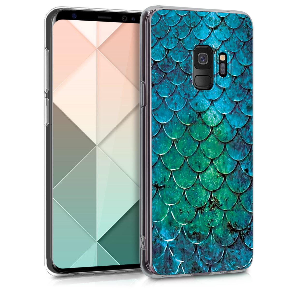 Pouzdro pro Samsung Galaxy S9 - TPU Crystal Clear Back Protective Cover IMD Design - Mermaid Scales Turquoise / Blue / Green