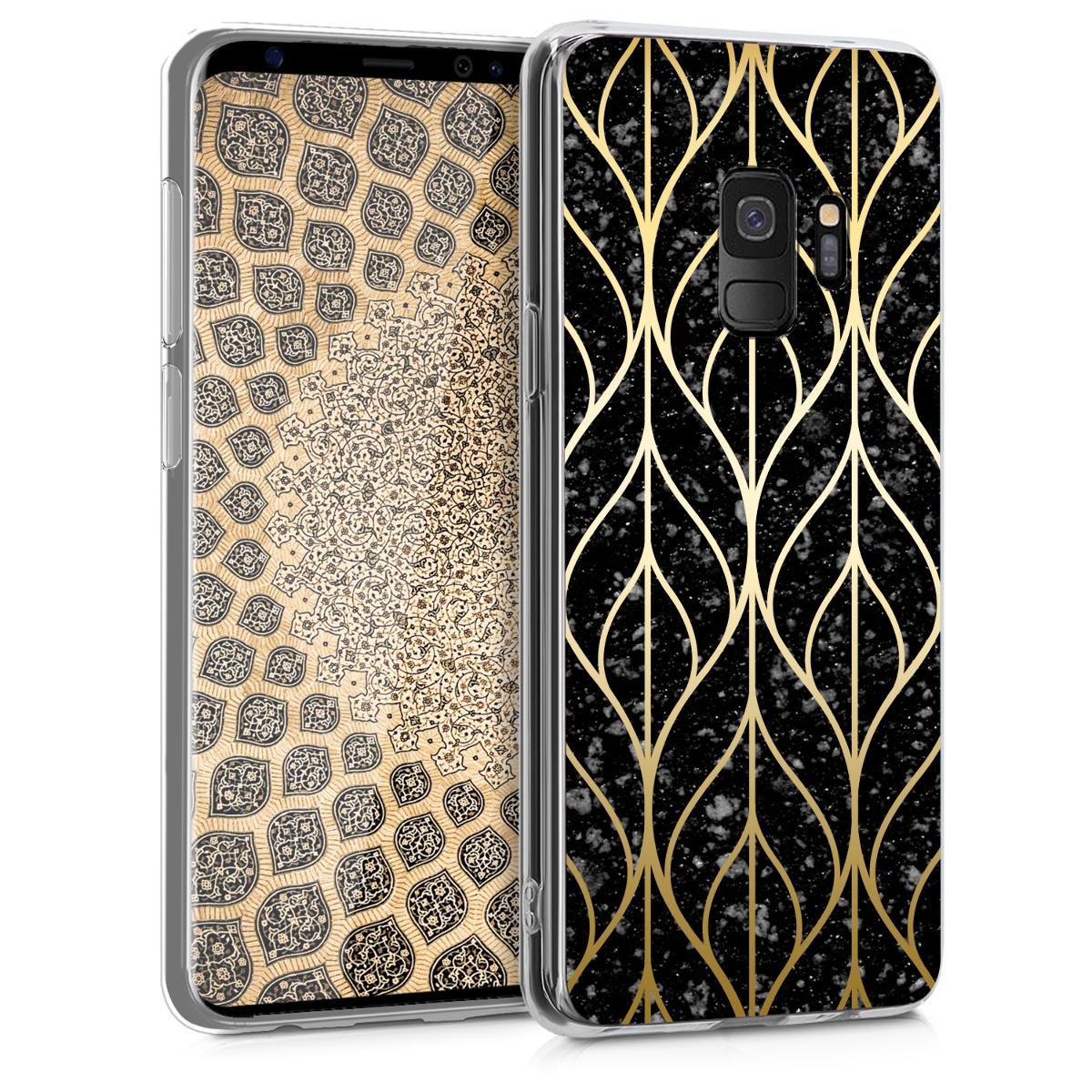 Kvalitní silikonové TPU pouzdro pro Samsung S9 - Listová Mix Gold / černé