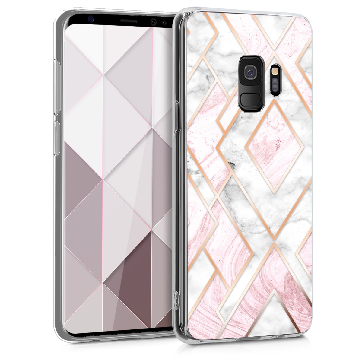 Pouzdro  pro Samsung Galaxy S9 - Soft Crystal Clear IMD Design Back Phone Cover - Glory Mix 2 Rose Gold / White / Dusty Pink