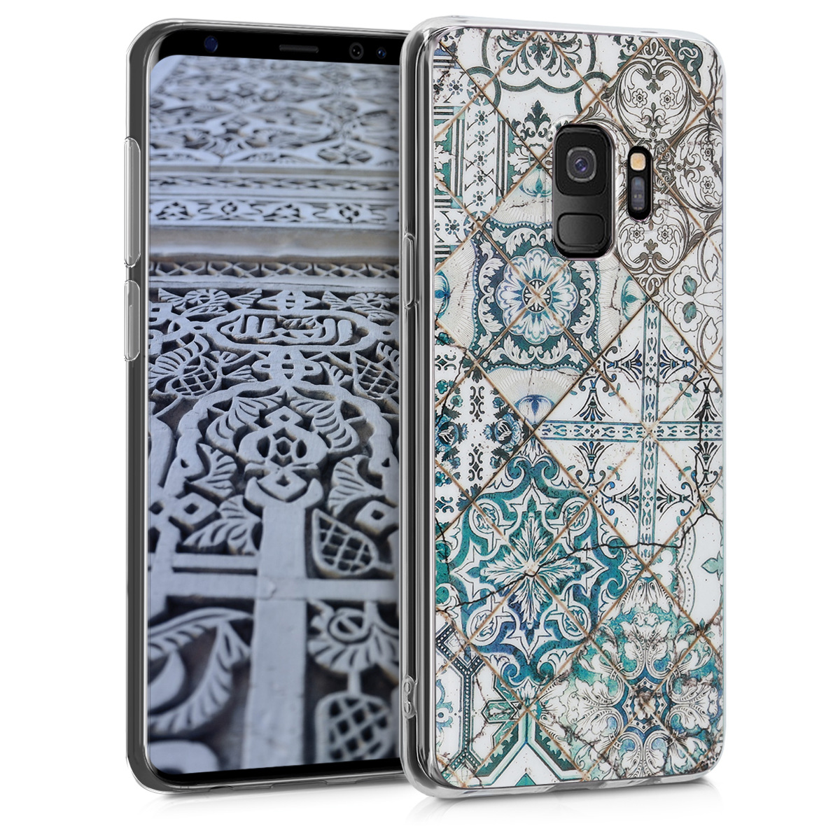 Pouzdro pro Samsung Galaxy S9 - TPU Crystal Clear Back Protective Cover IMD Design - Moroccan Vibes in Monochrome Blue / Grey / White