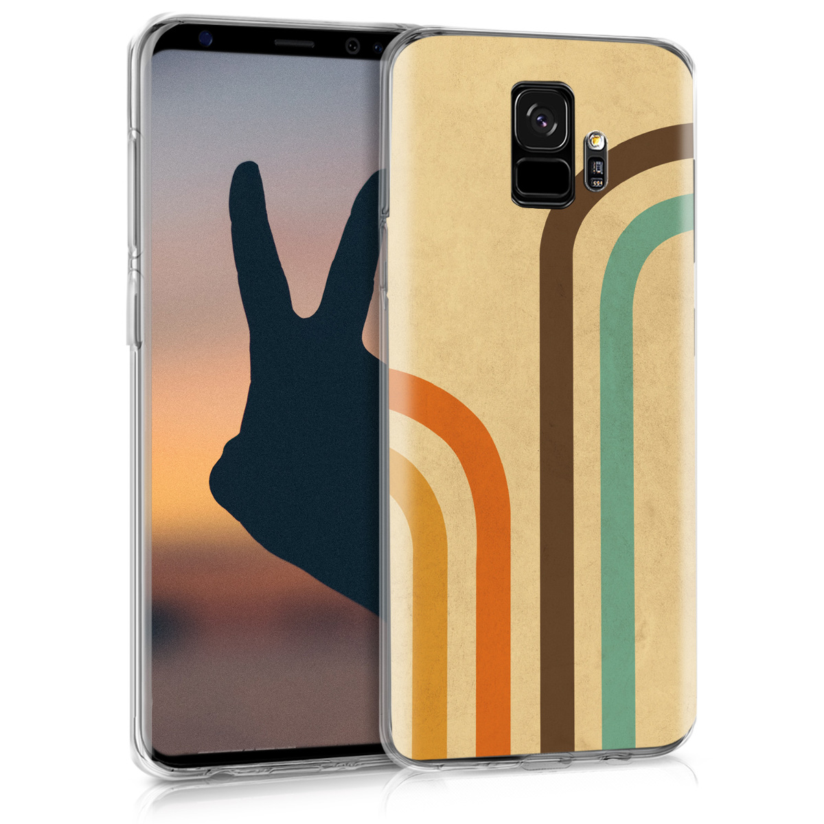 Pouzdro pro Samsung Galaxy S9 - TPU Crystal Clear Back Protective Cover IMD Design - Curved Retro Stripes Orange / Brown / Beige