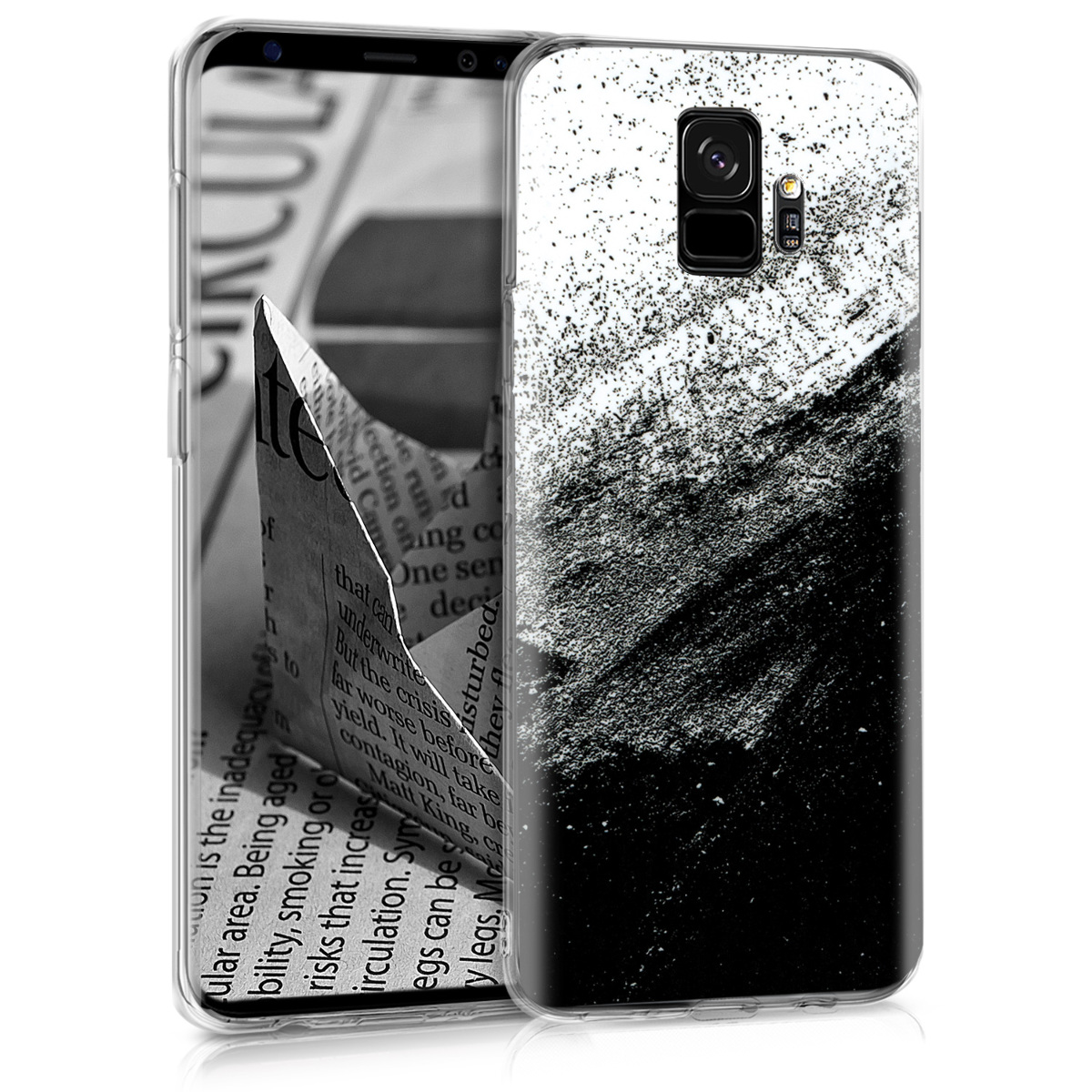 Pouzdro pro Samsung Galaxy S9 - TPU Crystal Clear Back Protective Cover IMD Design - Brushed Ink Black / White