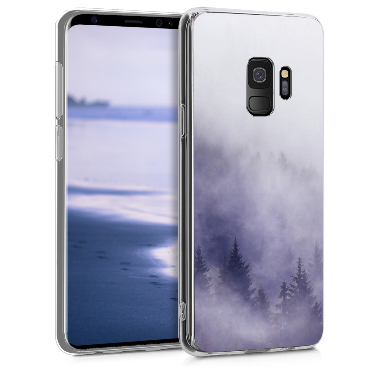 Pouzdro pro Samsung Galaxy S9 - TPU Crystal Clear Back Protective Cover IMD Design - Misty Forest Light Grey / Blue / Dark Grey