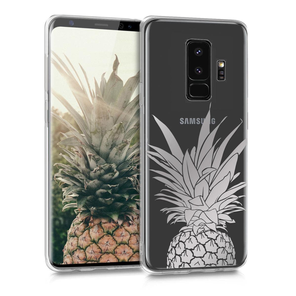 Kvalitní silikonové TPU pouzdro pro Samsung S9 Plus - Ananas keř stříbrné / transparentní
