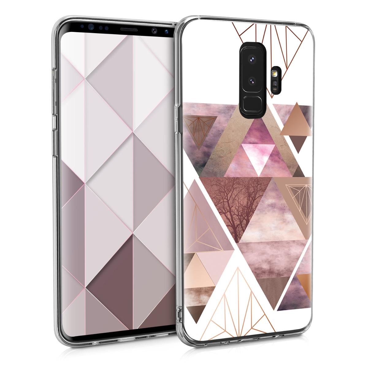 Kvalitní silikonové TPU pouzdro pro Samsung S9 Plus - Patchwork trojúhelníky světle růžové / starorůžové rosegold / bílé