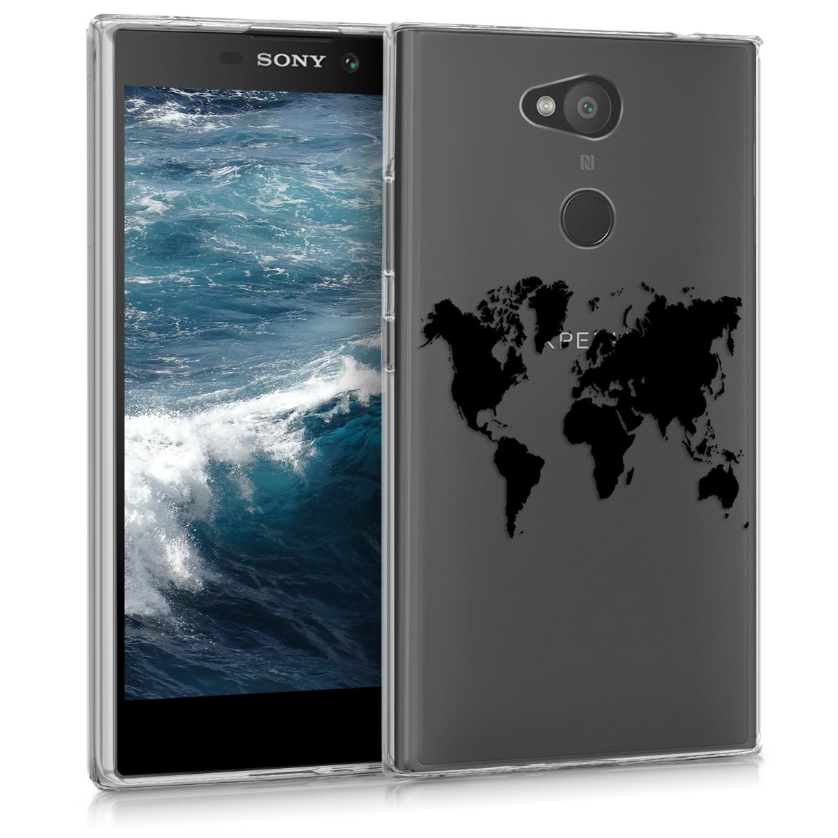 Kvalitní silikonové TPU pouzdro | obal pro Sony Xperia L2 - Travel Outline černé / průhledné