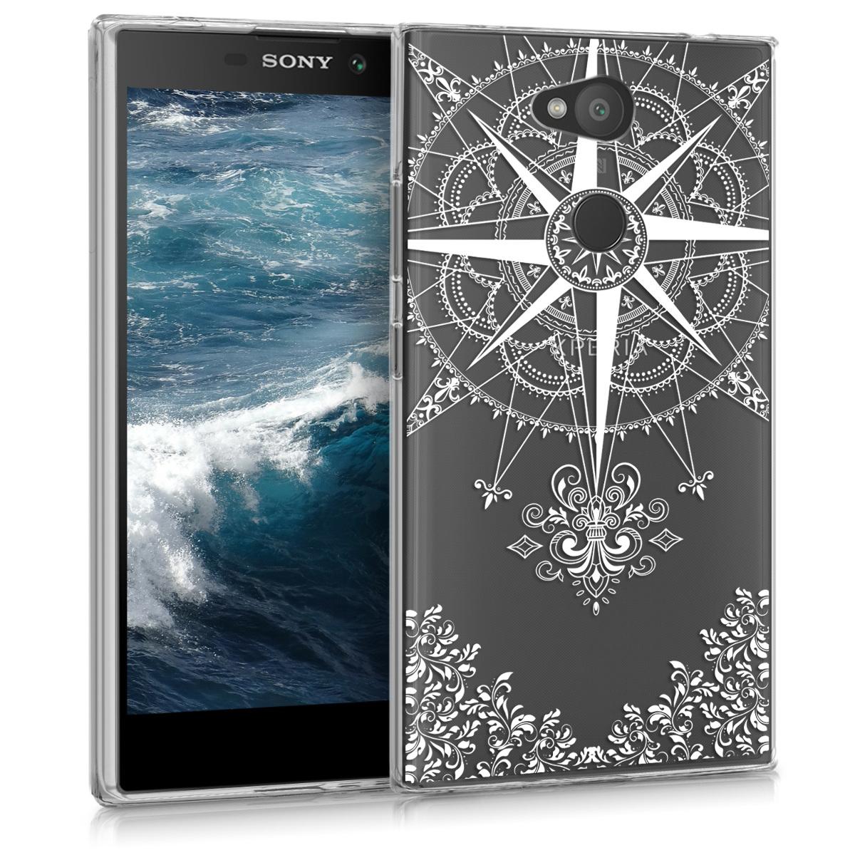 Kvalitní silikonové TPU pouzdro | obal pro Sony Xperia L2 - Barokní kompas bílé / průhledné