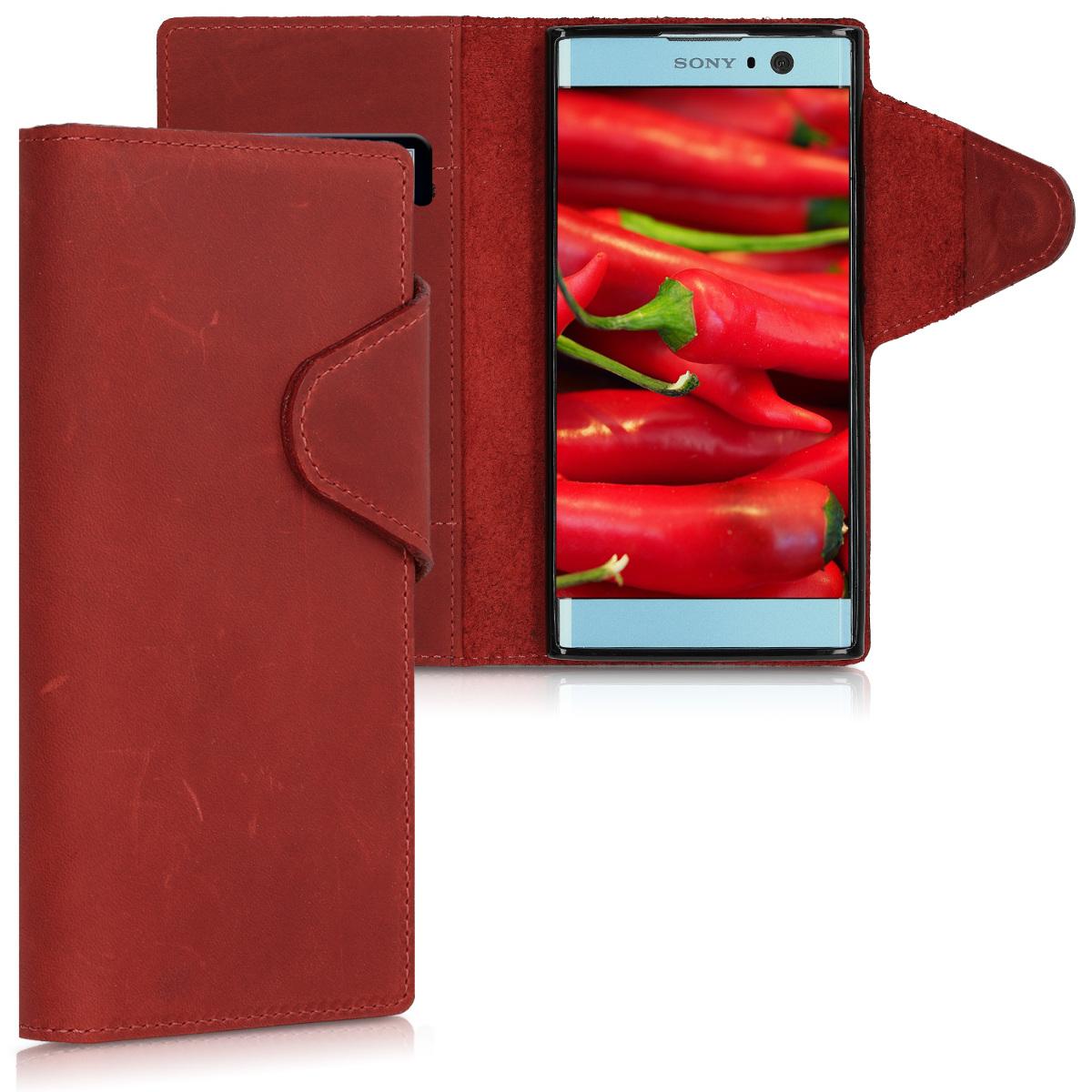 Kožené pouzdro | obal pro Sony Xperia XA2 - tmavě červená