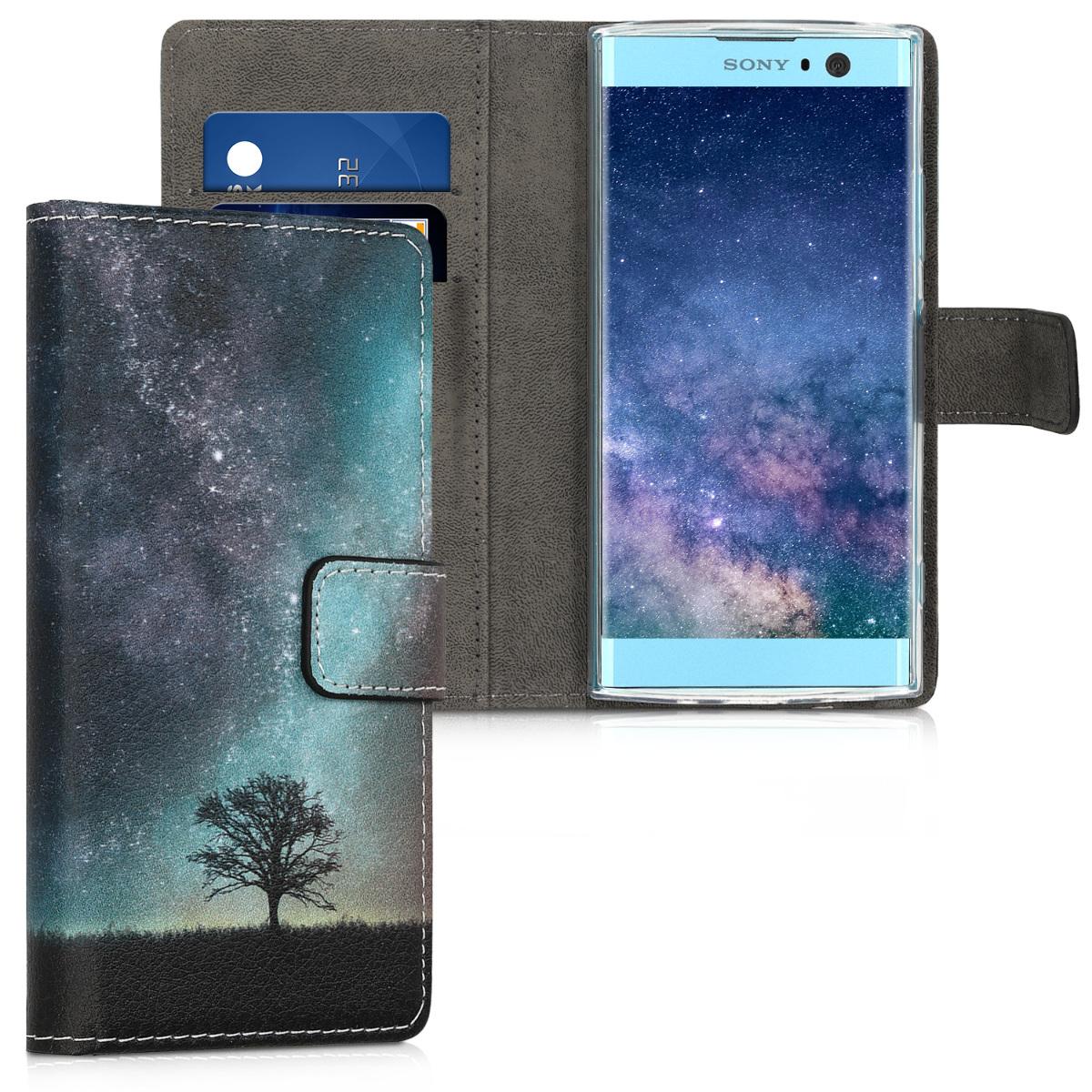 Kožené pouzdro | obal pro Sony Xperia XA2 - vesmírné příroda modré / šedé/ černé