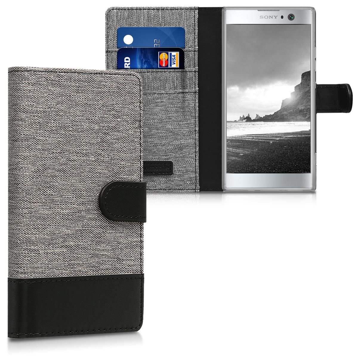 Textilní látkové pouzdro | obal pro Sony Xperia XA2 - šedé/ černé