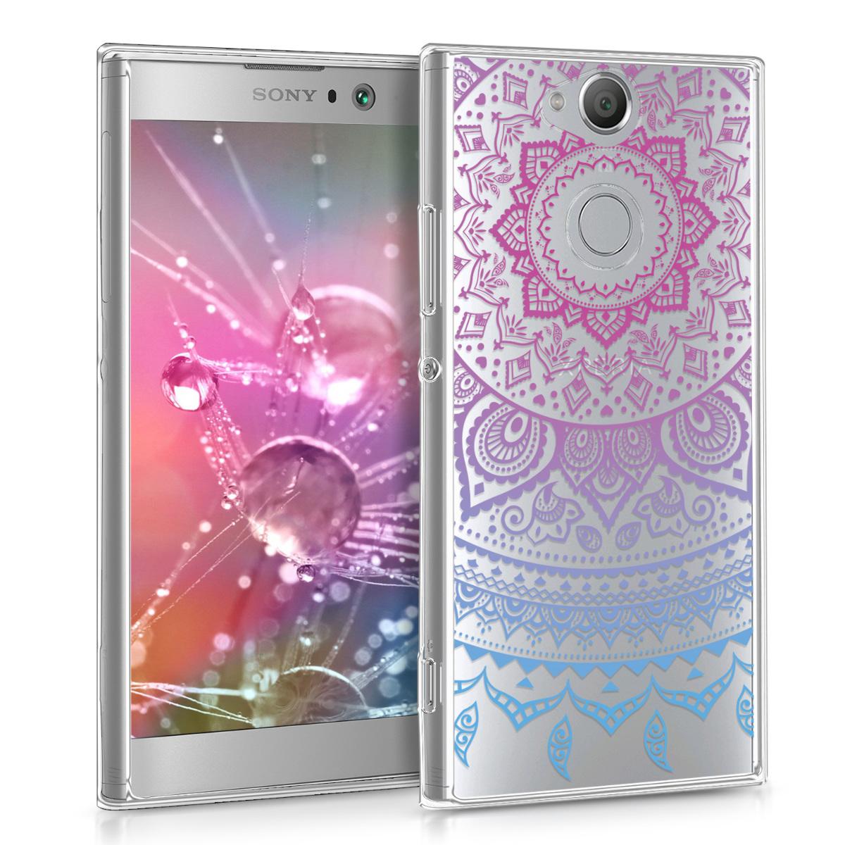 Kvalitní silikonové TPU pouzdro | obal pro Sony Xperia XA2 - indické slunce modré / tmavě růžová / průhledné