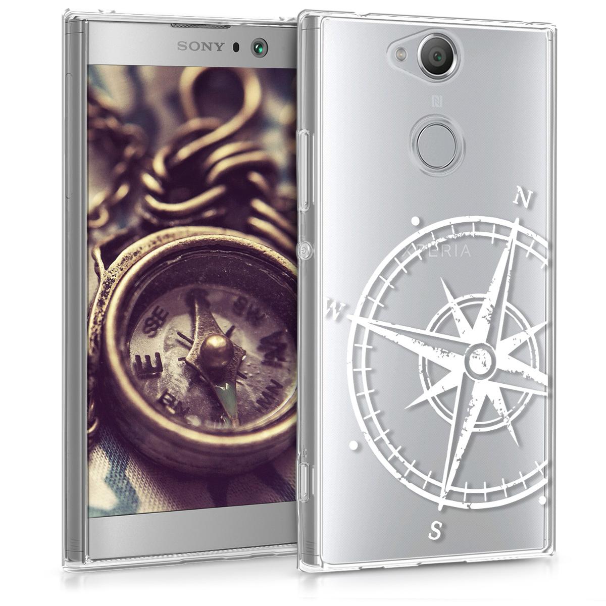 Kvalitní silikonové TPU pouzdro | obal pro Sony Xperia XA2 - Navigační kompas bílé / průhledné