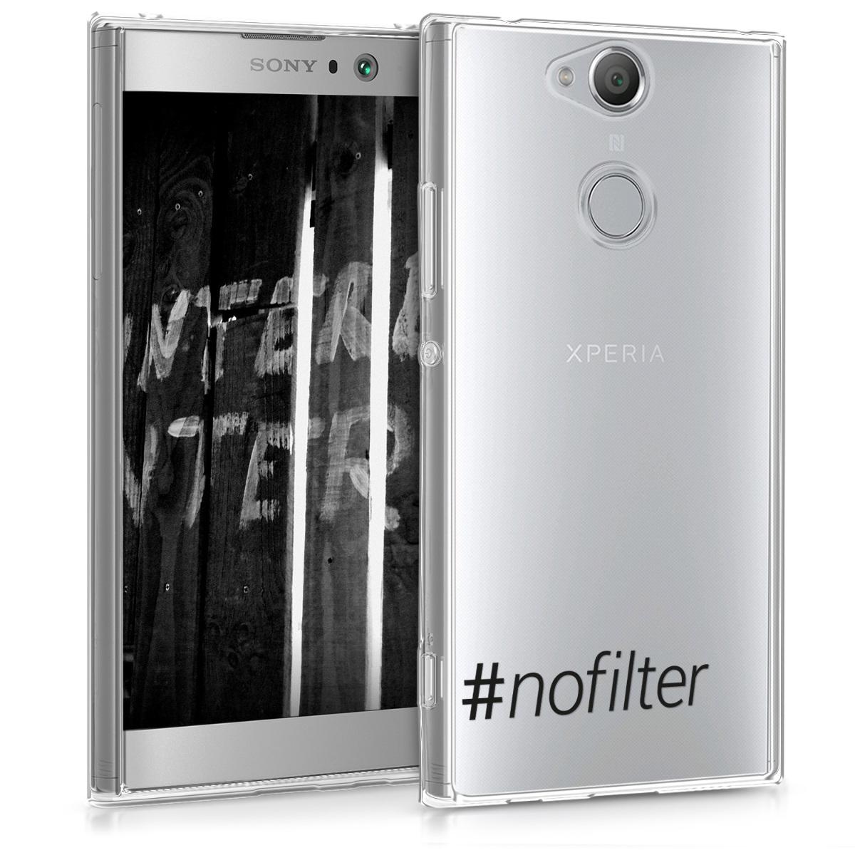 Kvalitní silikonové TPU pouzdro | obal pro Sony Xperia XA2 - Hashtag NoFilter černé / průhledné