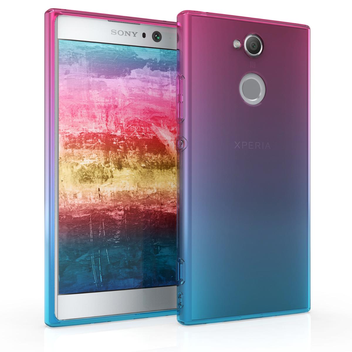 Kvalitní silikonové TPU pouzdro | obal pro Sony Xperia XA2 - Bicolor tmavě růžová / modré / průhledná