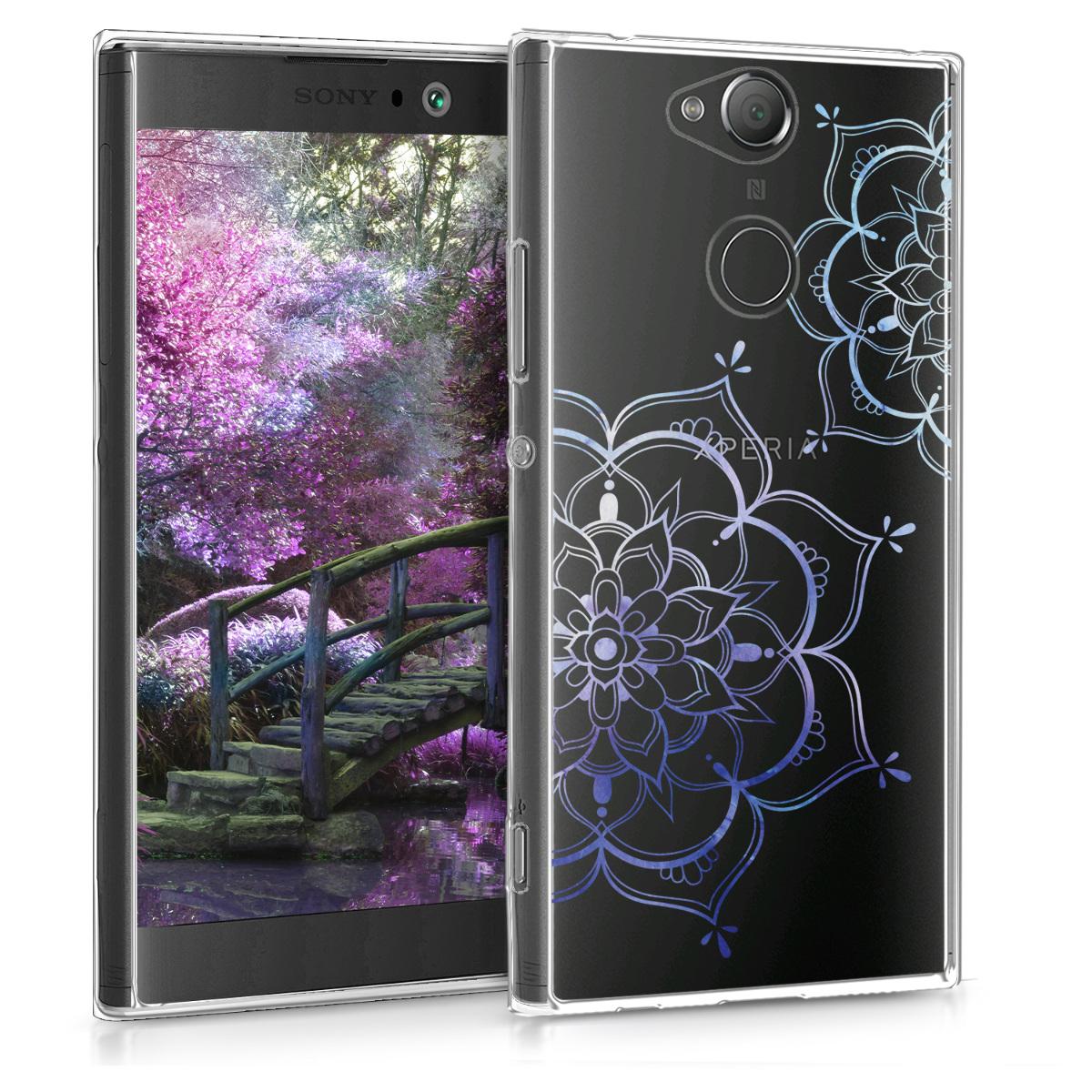 Kvalitní silikonové TPU pouzdro | obal pro Sony Xperia XA2 - květina dvojčata modré / průhledná