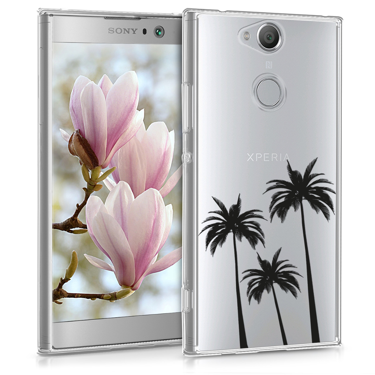 Kvalitní silikonové TPU pouzdro | obal pro Sony Xperia XA2 - Palms černé / průhledné