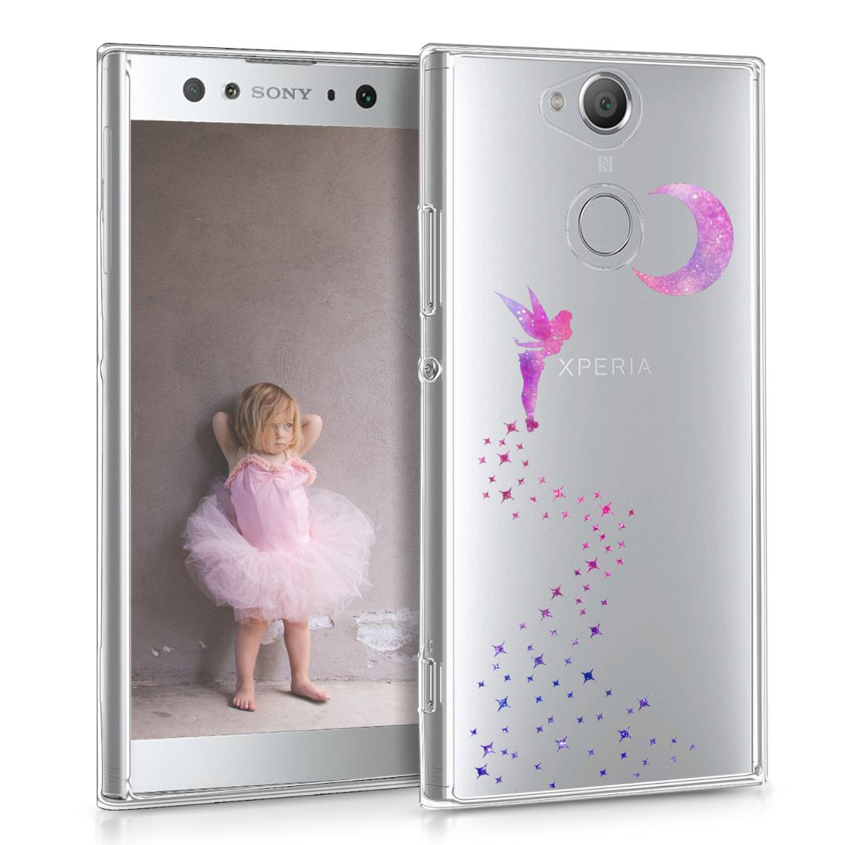 Kvalitní silikonové TPU pouzdro | obal pro Sony Xperia XA2 Ultra - víla tmavě růžové / fialové / průhledné