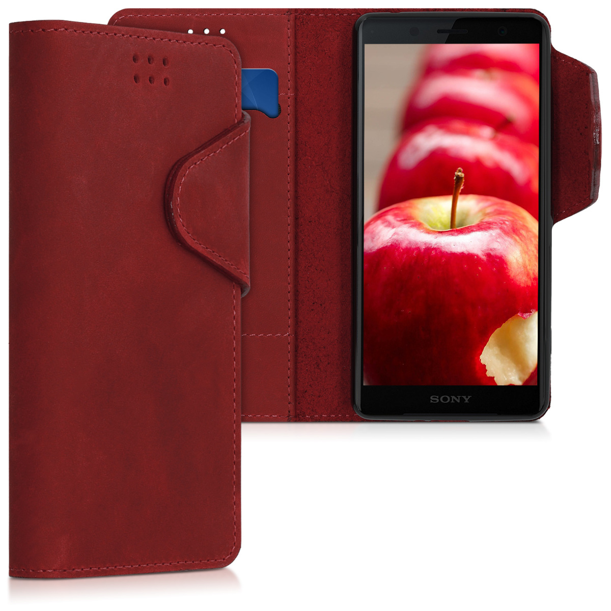 Kožené pouzdro | obal pro Sony Xperia XZ2 Compact - tmavě červená