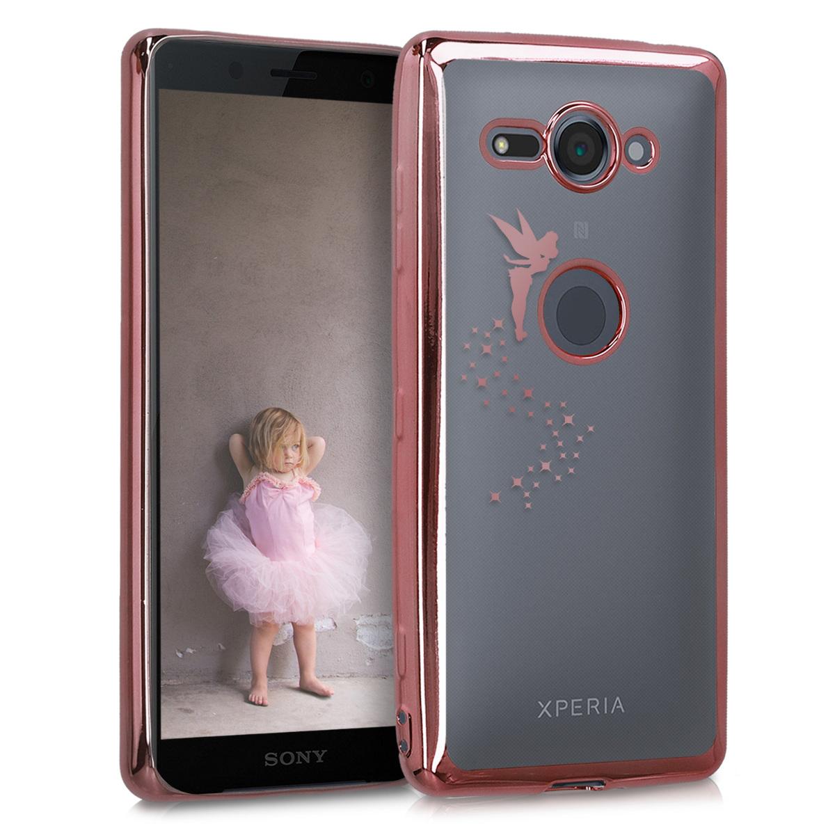 Kvalitní silikonové TPU pouzdro | obal pro Sony Xperia XZ2 Compact - víla rosegold starorůžové / průhledné