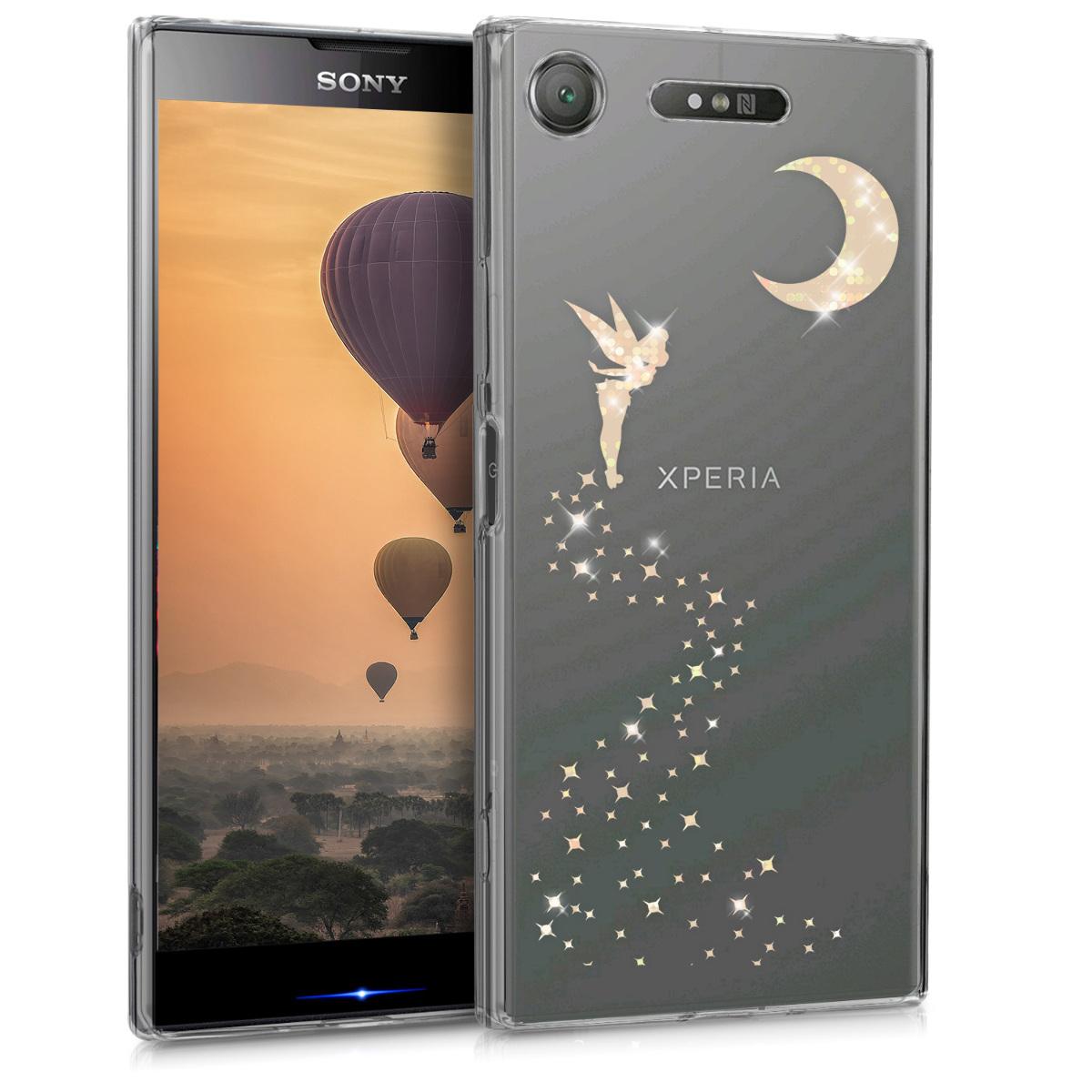 Kvalitní silikonové TPU pouzdro | obal pro Sony Xperia XZ1 - Třpytivé víla rosegold starorůžové / průhledné