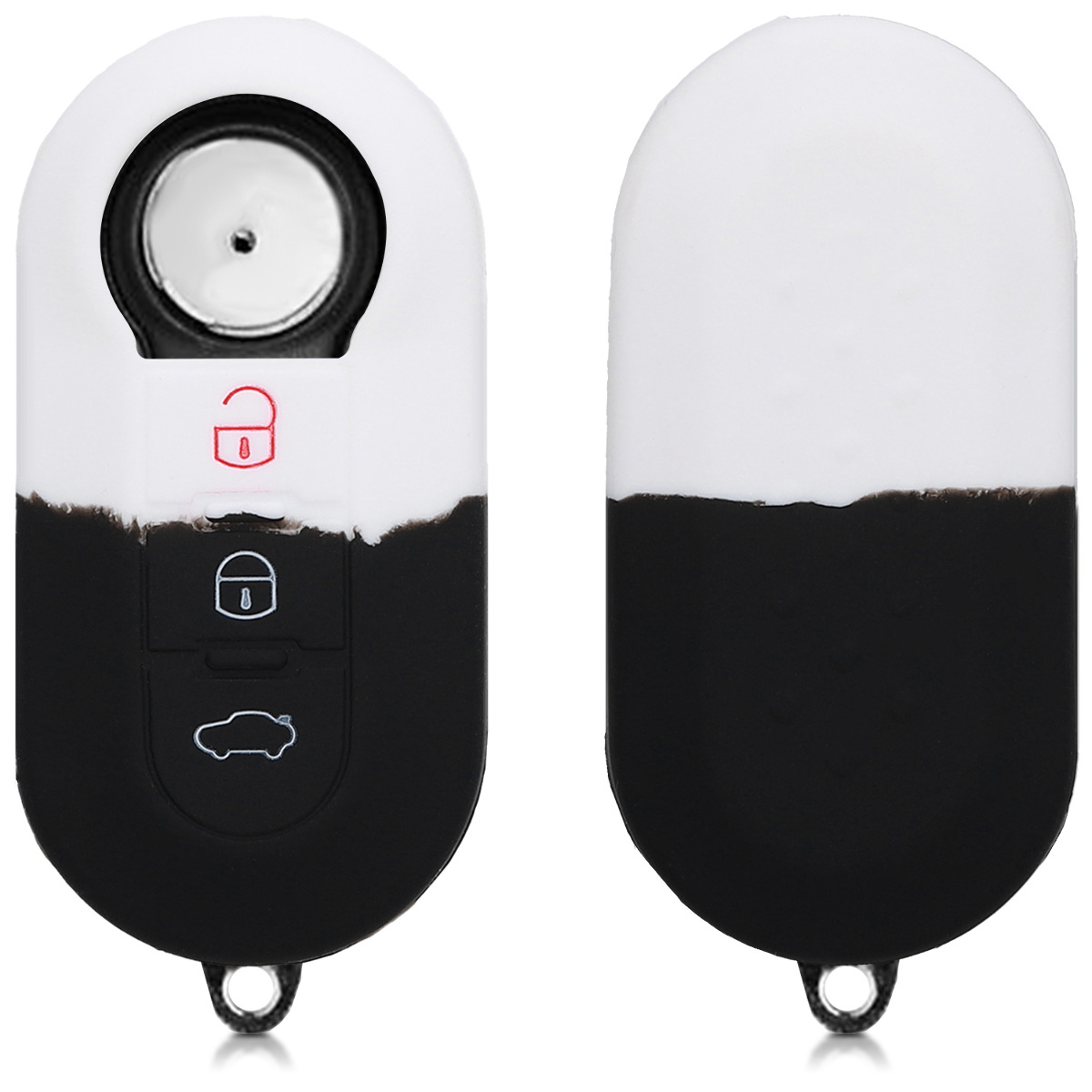 Bicolor White//Black Silicone Protective Key Fob Cover kwmobile Car Key Cover Compatible with Fiat Lancia 3 Button Car Flip Key