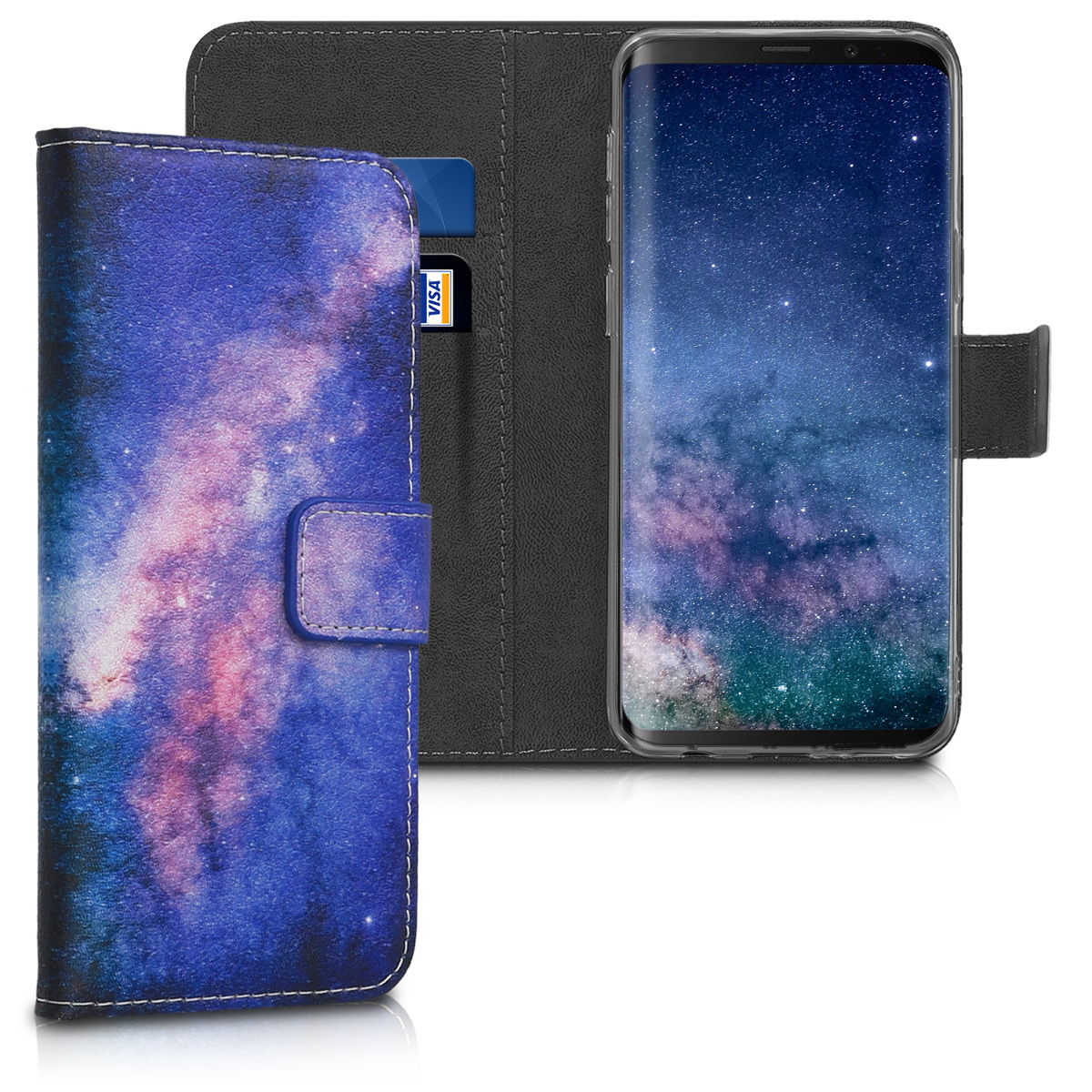 Pouzdro peněženka pro Samsung Galaxy S9 - PU Leather Flip Cover with Card Slots and Stand - Starry Galaxy Light Pink / Dark Pink / Dark Blue