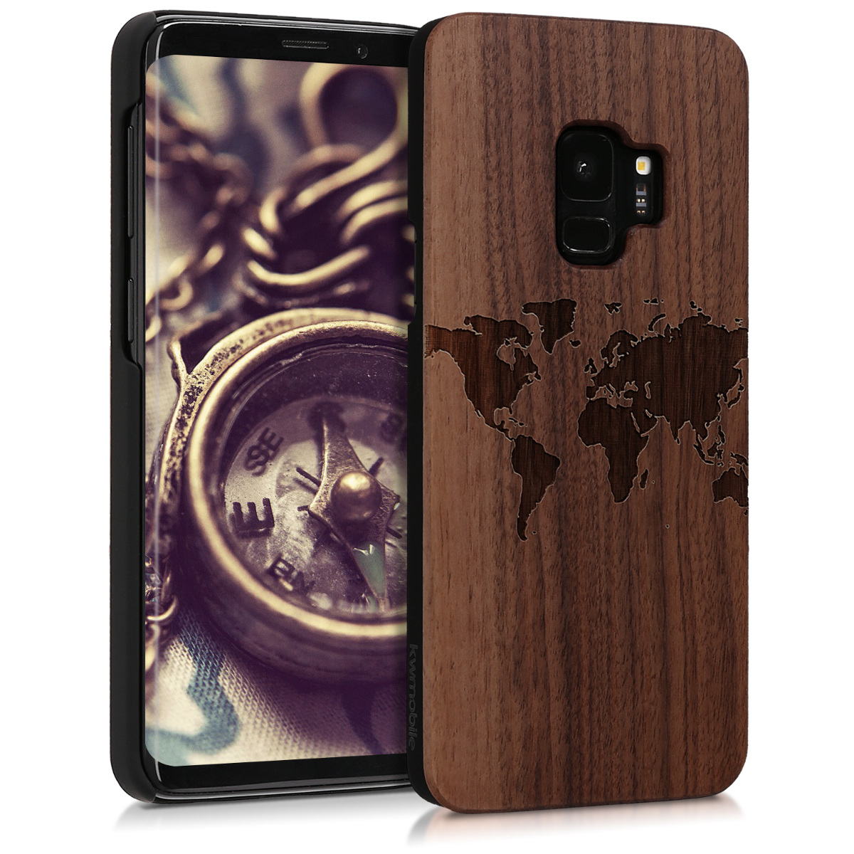 Dřevěné pouzdro pro Samsung S9 - Travel Outline Dark Brown