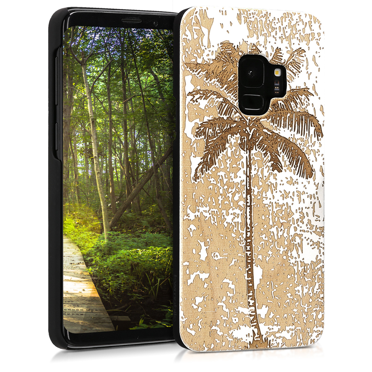 Pouzdro pro Samsung Galaxy S9 - Non-Slip Natural Solid Hard Dřevěné  Protective Cover - Vintage Palm Tree White / Brown