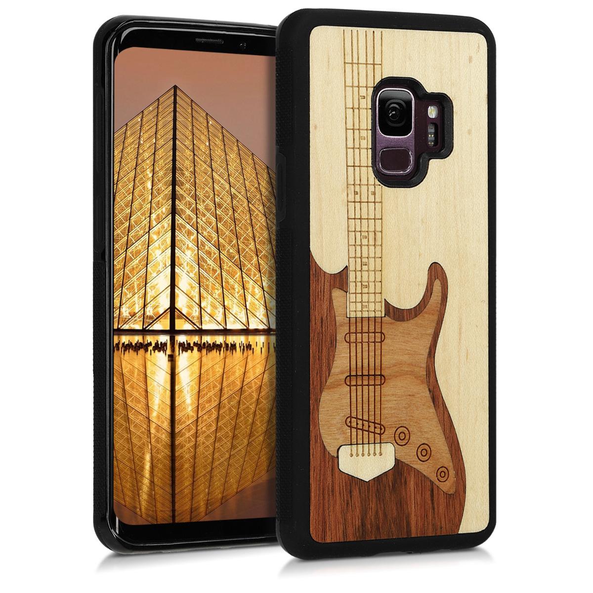 Dřevěné pouzdro pro Samsung S9 - Kytara vykládané dřevěné tmavě hnědé / hnědé / světle  hnědá