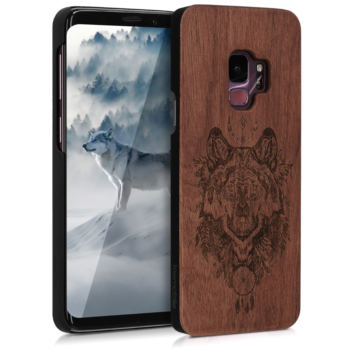 Pouzdro pro Samsung Galaxy S9 - Non-Slip Natural Solid Hard Dřevěné  Protective Cover - Spirit Wolf Brown / Dark Brown