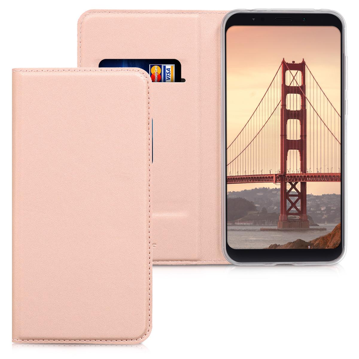 Kožené pouzdro | obal pro Xiaomi Redmi 5 Plus | Redmi Note - starorůžový růžovýgold