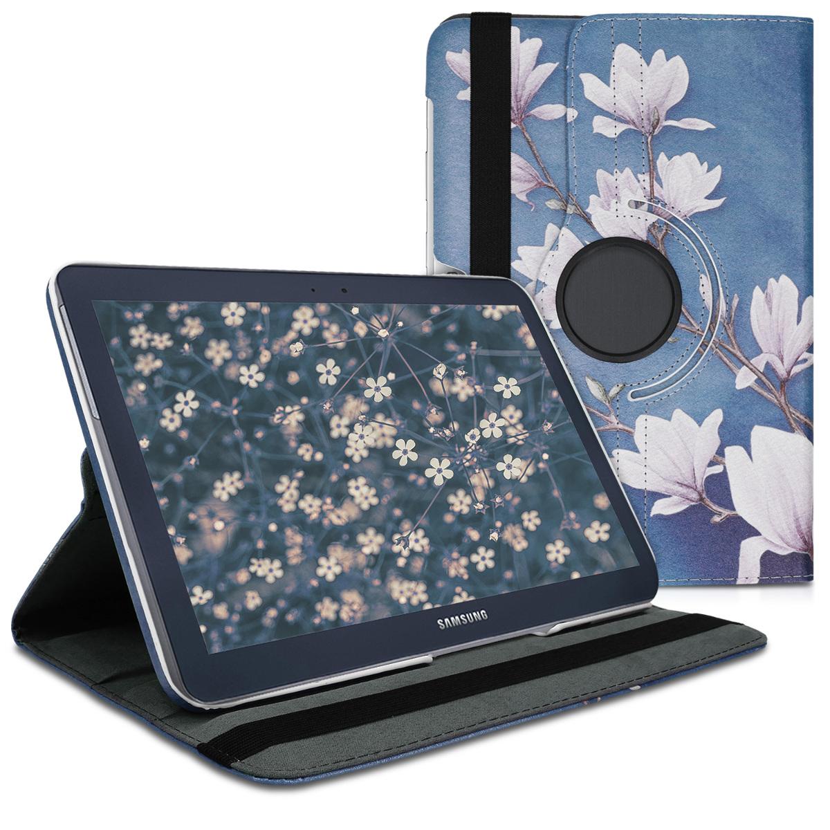 Kožené pouzdro pro Samsung Note 10.1 N8000 | N8010 - Magnolie Taupe / bílá / modré šedé