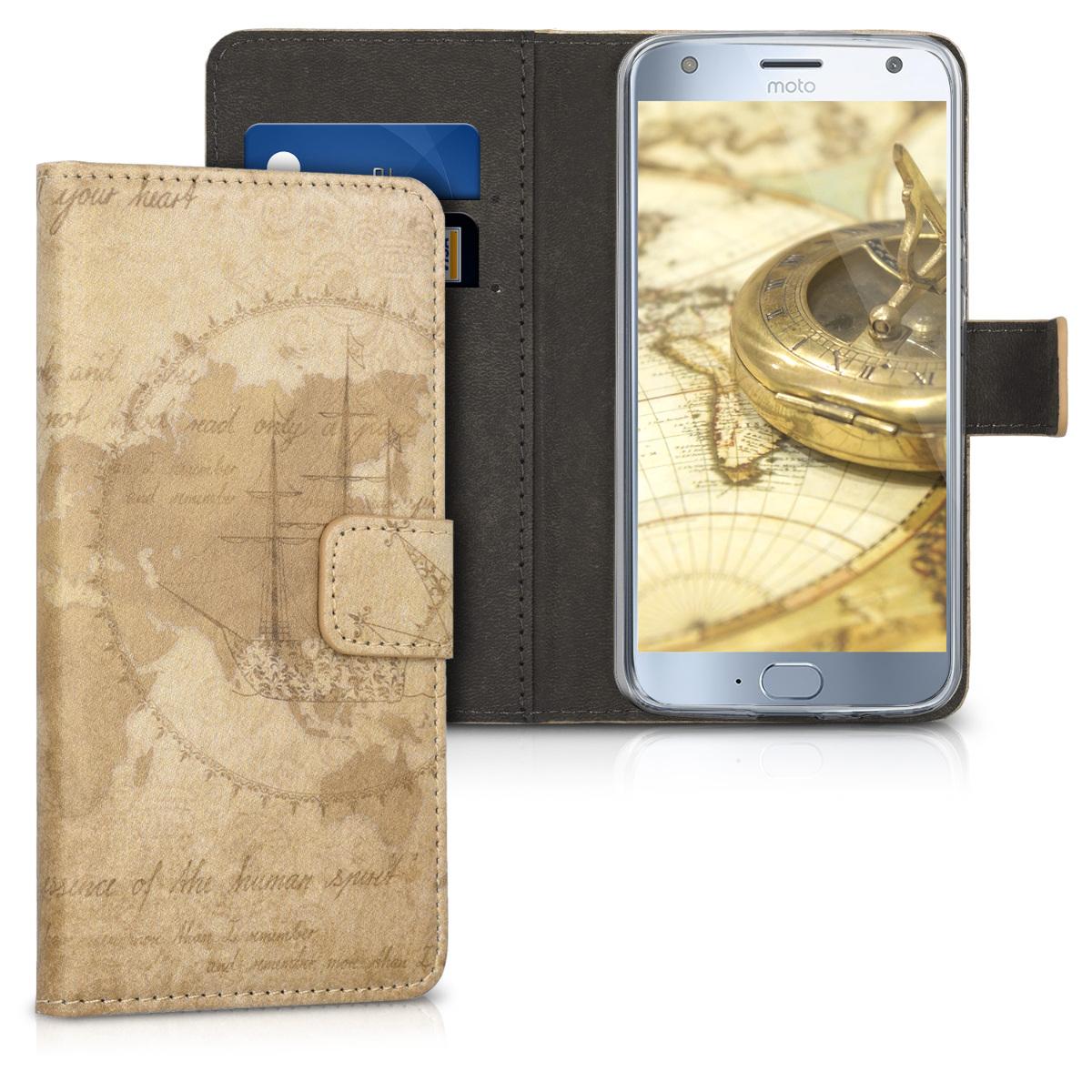 Kožené pouzdro | obal pro Motorola Moto X4 - Cestovní vintage hnědá / světle hnědá