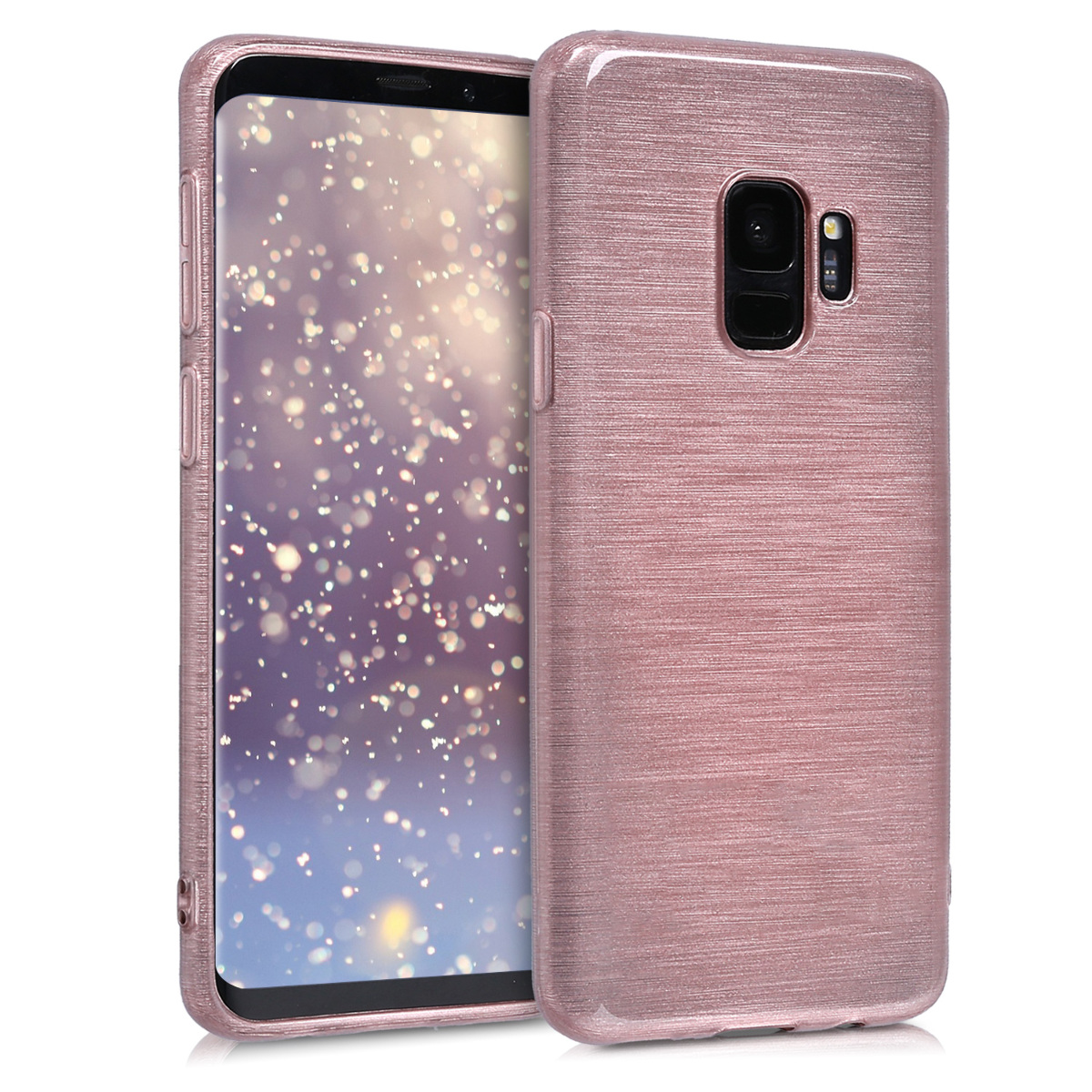 TPU Silikonové pouzdro pro Samsung Galaxy S9 - Soft Flexible Shock Absorbent Protective Phone Cover - Brushed Aluminum Rose Gold / Transparent